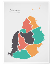 Póster Mauritius map modern abstract with round shapes
