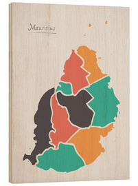 Cuadro de madera  Mauritius map modern abstract with round shapes - Ingo Menhard