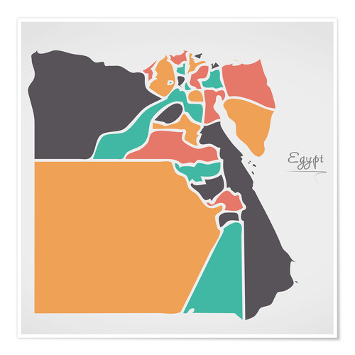 Póster Egypt map modern abstract with round shapes