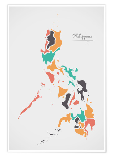 Póster Philippines map modern abstract with round shapes
