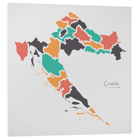 Cuadro de PVC  Croatia map modern abstract with round shapes - Ingo Menhard