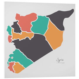 Cuadro de PVC  Syria map modern abstract with round shapes - Ingo Menhard