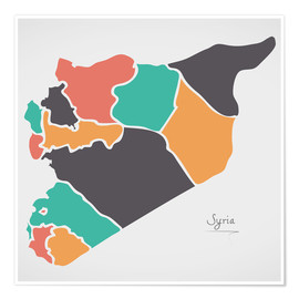 Póster Syria map modern abstract with round shapes