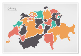 Póster Switzerland map modern abstract with round shapes