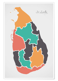 Póster Sri Lanka map modern abstract with round shapes