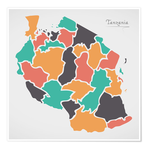 Póster Tanzania map modern abstract with round shapes