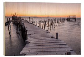 Cuadro de madera  Sunset at Palafito Pier of Carrasqueira, Setubal, Portugal - Roberto Sysa Moiola
