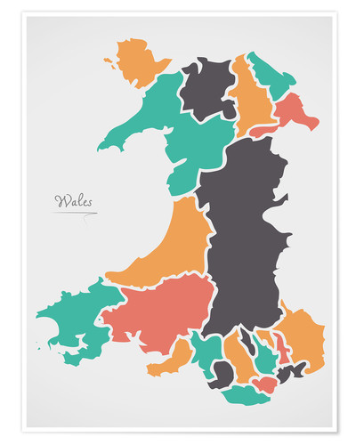 Póster Wales map modern abstract with round shapes
