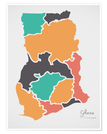 Póster  Ghana map modern abstract with round shapes - Ingo Menhard