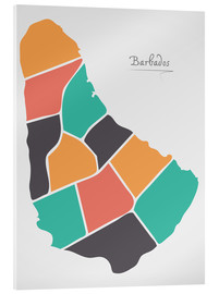 Cuadro de metacrilato  Barbados map modern abstract with round shapes - Ingo Menhard
