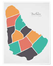 Póster Barbados map modern abstract with round shapes