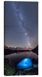 Lienzo  Panoramic of Milky Way on Mont Blanc, France - Roberto Sysa Moiola