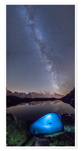 Póster Panoramic of Milky Way on Mont Blanc, France