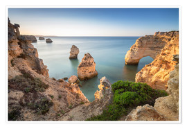 Póster Cliffs at sunrise, Praia Da Marinha, Algarve, Portugal