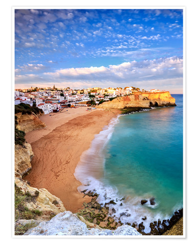 Póster Panoramic of Carvoeiro at sunset, Algarve, Portugal