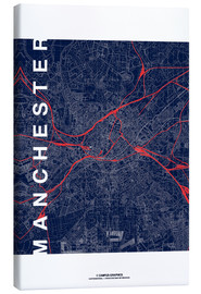 Lienzo  Manchester Map Midnight Map - campus graphics