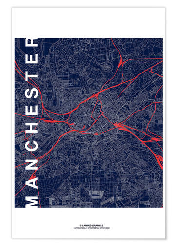 Póster Manchester Map Midnight Map