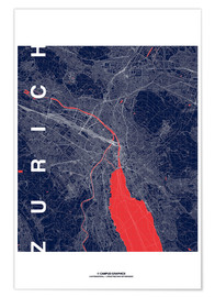 Póster Zurich Map Midnight City