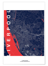 Póster Liverpool Map Midnight City