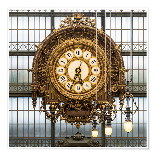 Póster Big clock at the Musee d'Orsay in Paris, France