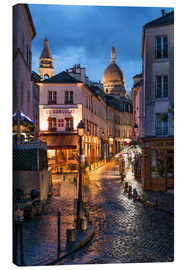 Lienzo  Street in Montmartre with Basilica of Sacre Coeur, Paris, France - Jan Christopher Becke