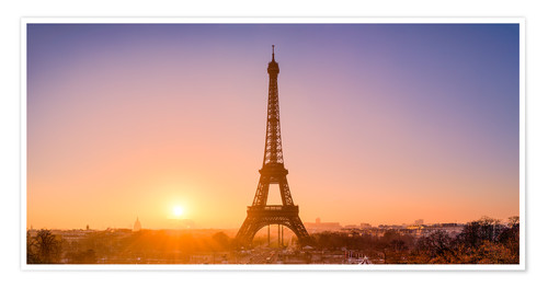 Póster City view with Eiffel Tower, Paris, France