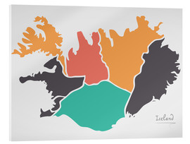Cuadro de metacrilato  Iceland map modern abstract with round shapes - Ingo Menhard