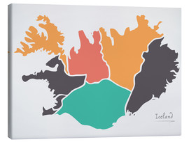 Lienzo  Iceland map modern abstract with round shapes - Ingo Menhard