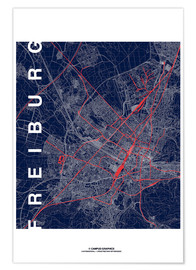 Póster  Freiburg Map Midnight City - campus graphics