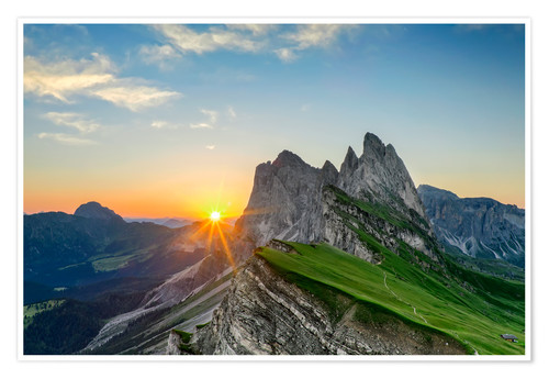 Póster Sunrise on Seceda with Geisler group