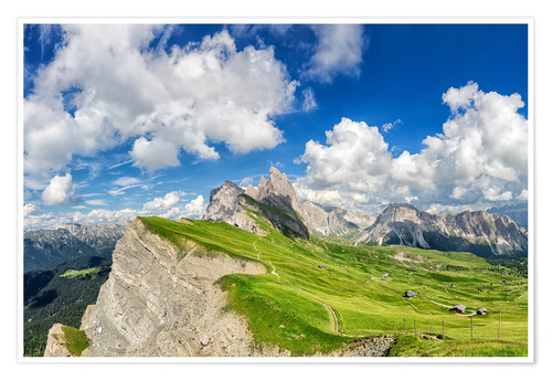 Póster Alps panorama on Seceda with Mount Geisler
