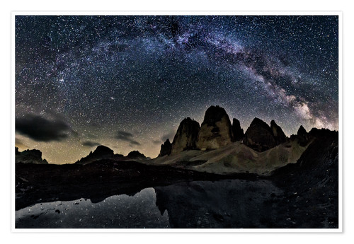 Póster Milky way over Tre cime - Dolomites