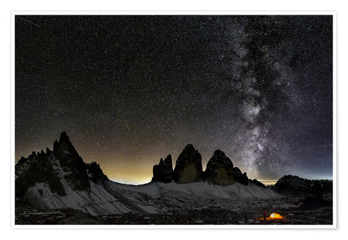 Póster Lonely Tent under Milky way over Tre cime - Dolomites