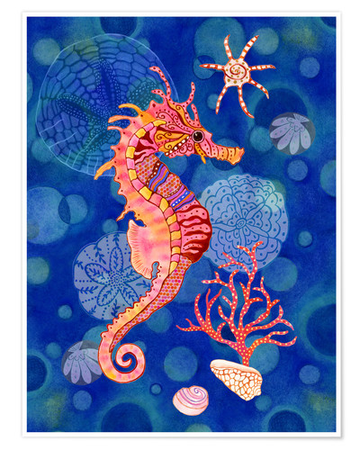 Póster Seahorse in the blue