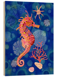 Cuadro de madera  Seahorse in the blue - Janet Broxon
