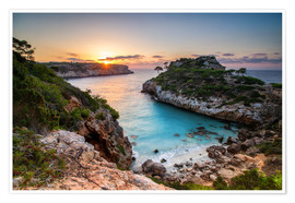 Póster Sunrise with beautiful bay, Majorca, Spain