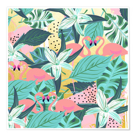 Póster Flamingo Tropical