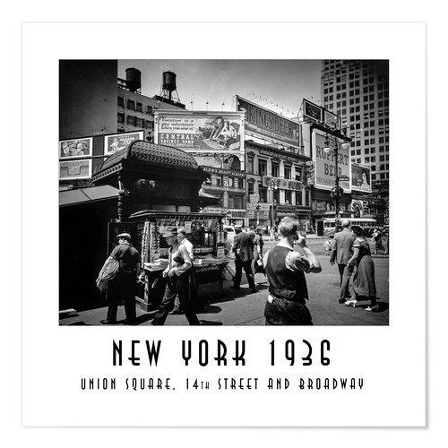 Póster Historic New York: Union Square, 14th Street and Broadway