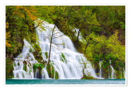 Póster Spring at the waterfalls of Plitvice