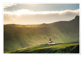 Póster Church in the light, Iceland