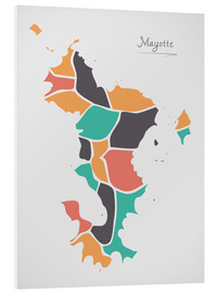 Cuadro de PVC  Mayotte map modern abstract with round shapes - Ingo Menhard
