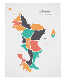 Póster Mayotte map modern abstract with round shapes
