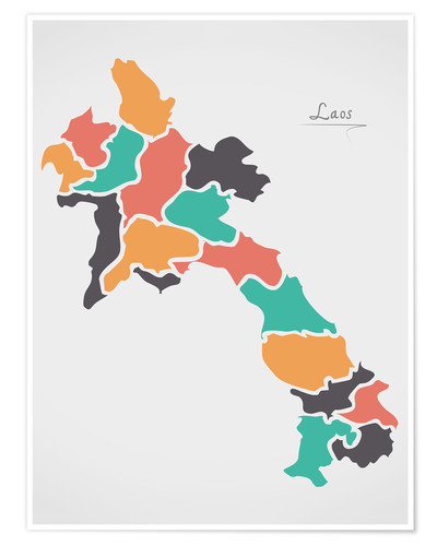 Póster Laos map modern abstract with round shapes