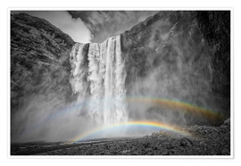 Póster ICELAND Skogafoss with a double rainbow