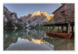 Póster Braies Lake South Tyrol Italy