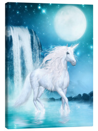 Lienzo  Unicorn - Waterfalls and Moon - Dolphins DreamDesign