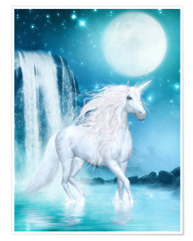 Póster  Unicorn - Waterfalls and Moon - Dolphins DreamDesign