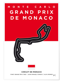 Póster My F1 MONACO Race Track Minimal Poster