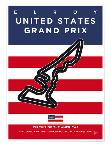 Póster My F1 AMERICAS Race Track Minimal Poster