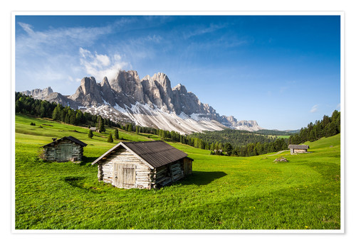 Póster Alpine hut, Caseril Alm, Funes Valley, South Tyrol, Italy